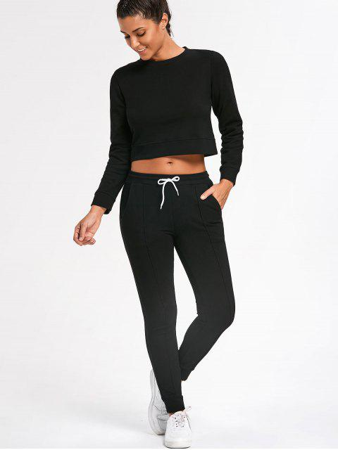 buy Sporty Cropped Sweatshirt with Jogger Pants - BLACK M Mobile