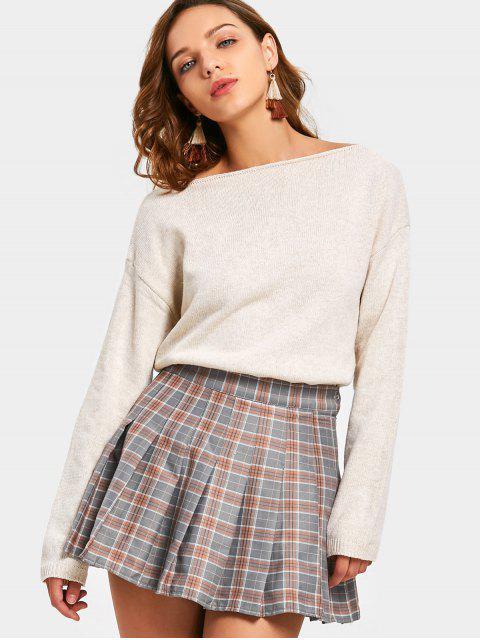 women's Slash Neck Drop Shoulder Sweater - LIGHT APRICOT ONE SIZE Mobile
