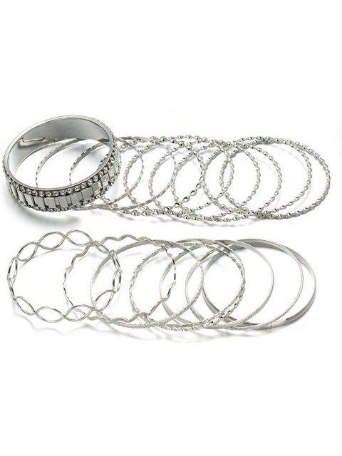 Aleación de diamantes de imitación círculo brazalete conjunto de pulsera - Plata  Mobile