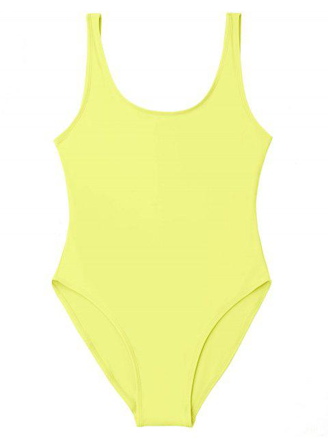 shops Low Back Shiny One Piece Swimwear - YELLOW S Mobile