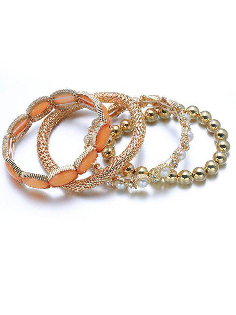 latest Faux Pearl Beaded Elastic Bracelet Set - GOLDEN  Mobile