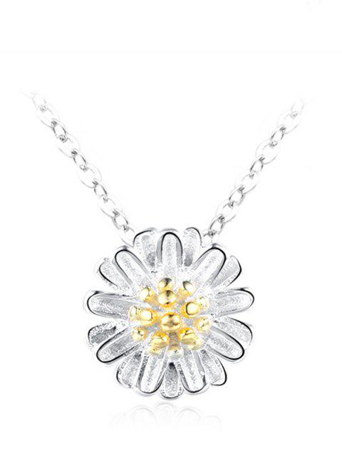 sale Sterling Silver Floral Collarbone Necklace - SILVER  Mobile