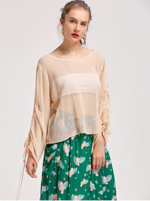 chic See Thru Oversized Gathered Sleeve Knitwear - PALOMINO ONE SIZE Mobile