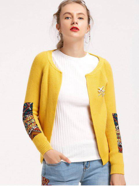 buy Open Front Elbows Patches Cardigan - YELLOW ONE SIZE Mobile