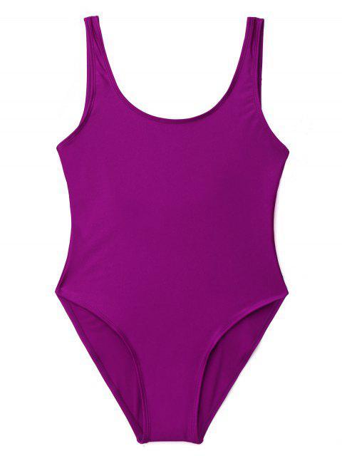 women Low Back Shiny One Piece Swimwear - PURPLE S Mobile