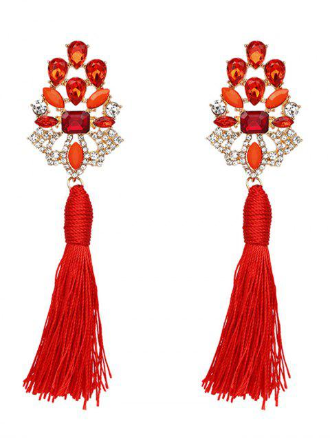 Vintage Rhinestone Faux Crystal Tassel Earrings - Rouge  Mobile