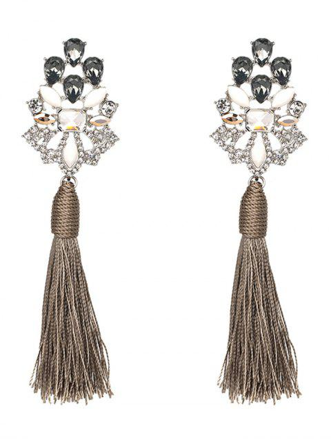 new Vintage Rhinestone Faux Crystal Tassel Earrings - GRAY  Mobile