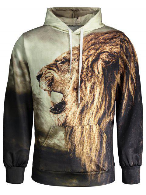 buy Lion Print Hoodie - COLORMIX L Mobile