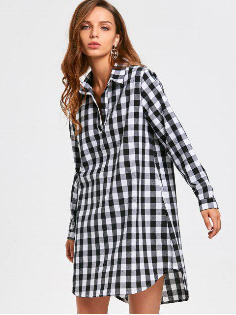 buy Long Sleeve Checked Casual Shirt Dress - CHECKED XL Mobile