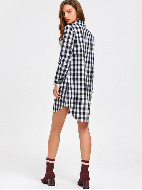 women's Long Sleeve Checked Casual Shirt Dress - CHECKED S Mobile
