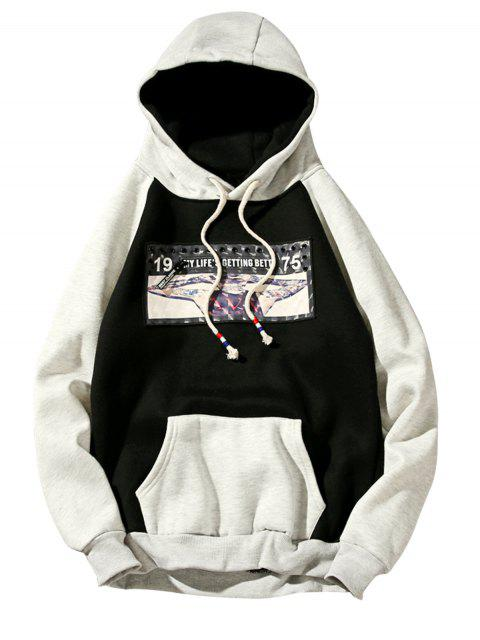 latest 3D Figure Print Applique Zipper Fleece Hoodie - BLACK M Mobile