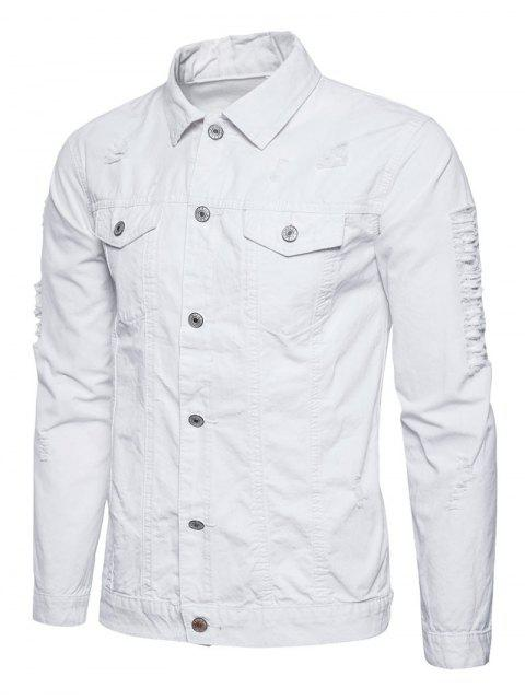unique Turndown Collar Button Up Distressed Cargo Jacket - WHITE M Mobile