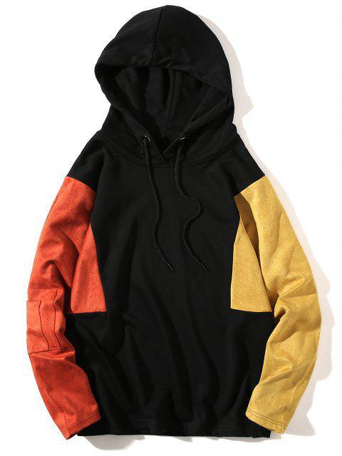 buy Color Block Panel Drop Shoulder Pullover Hoodie - MANDARIN M Mobile