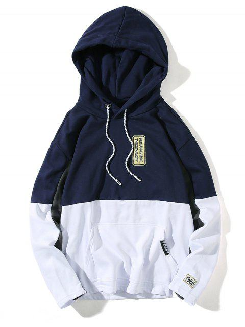 online Hooded Color Block Embroidered Appliques Pullover Hoodie - DEEP BLUE L Mobile
