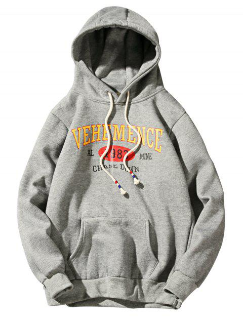 women Hooded Graphic Print Fleece Pullover Hoodie - DEEP GRAY M Mobile