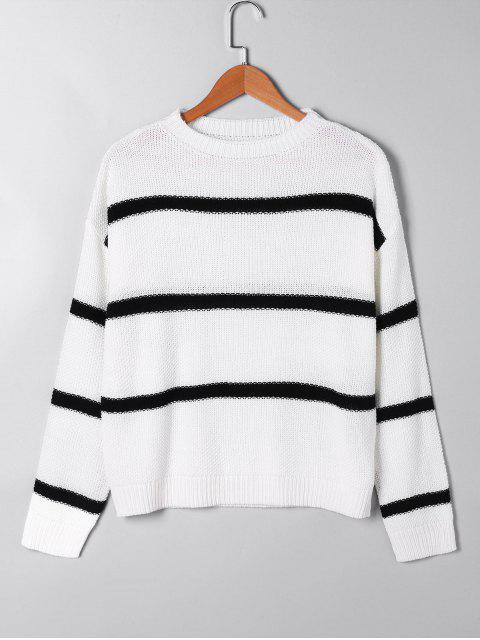 trendy Open Knit Two Tone Sweater - WHITE L Mobile