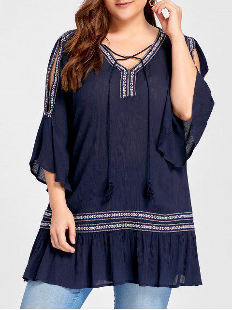 Plus Size Slit Sleeve Ruffle Bohemian Blusa - Azul Marino  XL Mobile