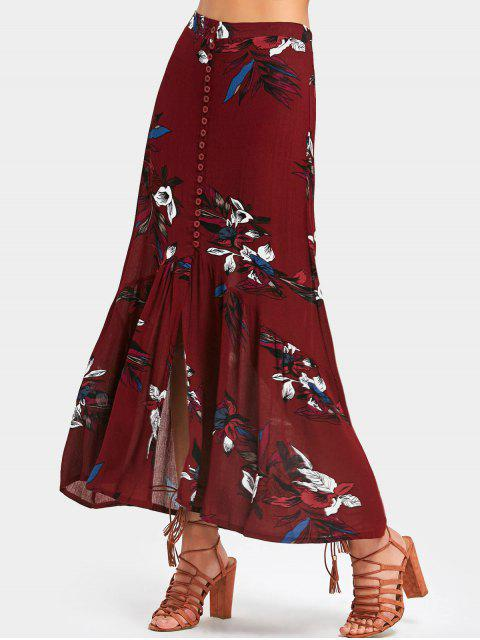 unique High Waisted Floral Print Maxi Skirt - DEEP RED XL Mobile