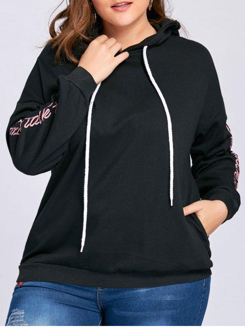 ladies Plus Size Drop Shoulder Floral Letter Embroidered Hoodie - BLACK 3XL Mobile