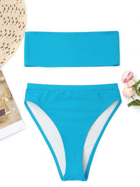 fashion Bralette High Cut Bandeau Bikini - LAKE BLUE S Mobile