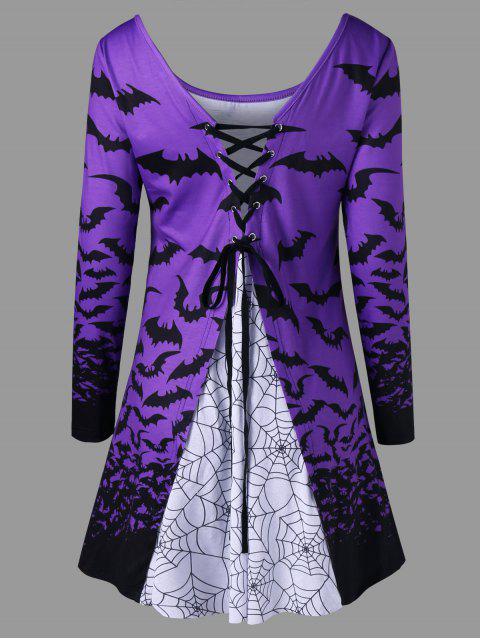 Top Imprimé Chauve-souris D'Halloween et Toile D'araignée à Lacets - Violet Clair L Mobile