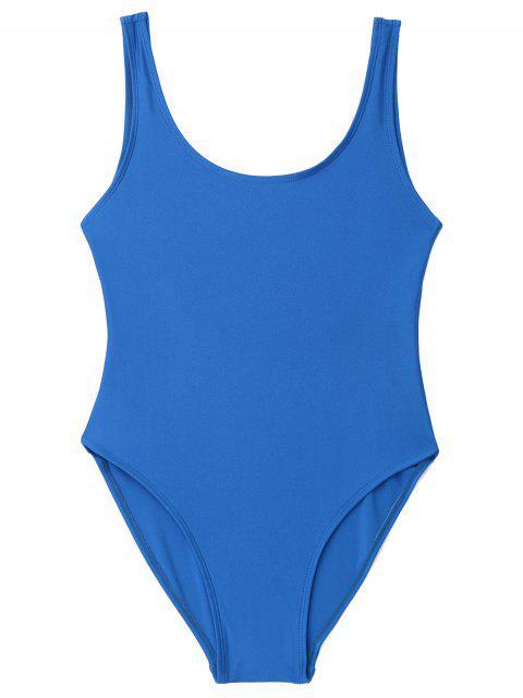 Bañador de una pieza con espalda baja brillante - Azul M Mobile