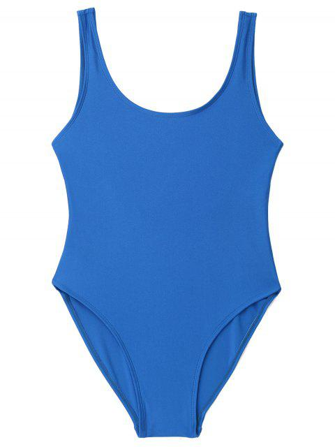 affordable Low Back Shiny One Piece Swimwear - BLUE S Mobile