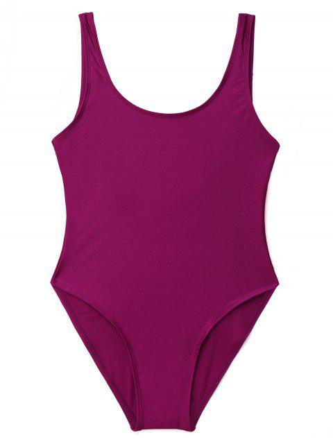 outfits Low Back Shiny One Piece Swimwear - PURPLISH RED S Mobile