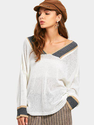 Semi Sheer Contrast Knitted Top - White
