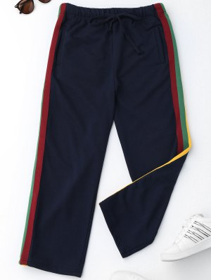 Drawstring Striped Running Pants