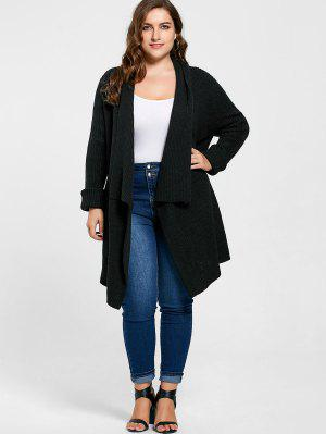 Plus Size Ribbed Drape Cardigan