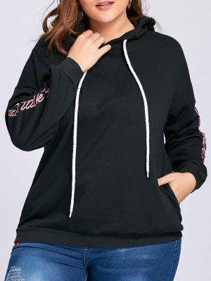 Plus Size Drop Shoulder Floral Letter Embroidered Hoodie