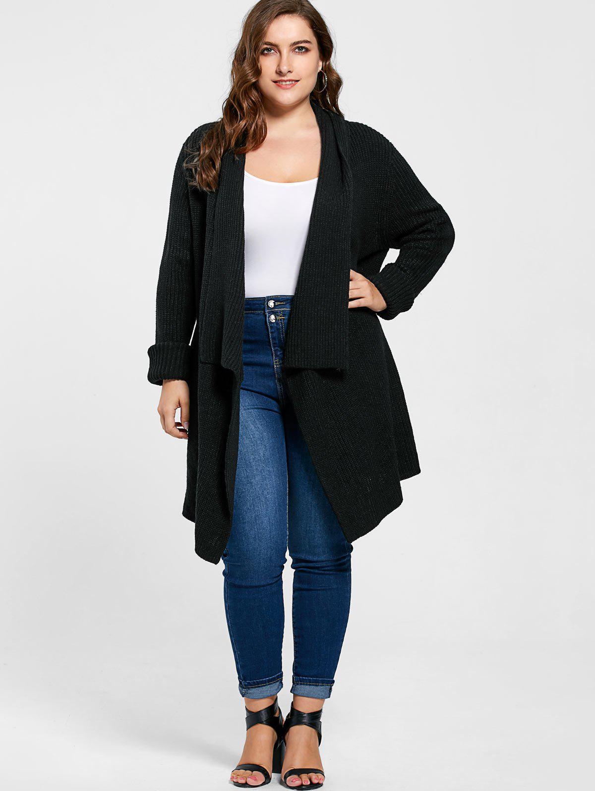 Plus Size Ribbed Drape Cardigan 221642305