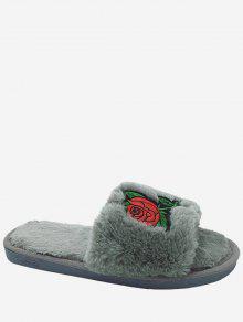 Faux Fur Embroidery Flower Open Toe Slippers