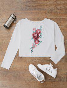 الأزهار طباعة قميصا تي شيرت - أبيض S