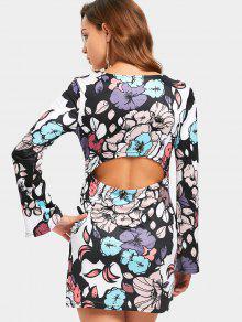 Blumiges Bedrucktes Mini-Kleid - Blumen M