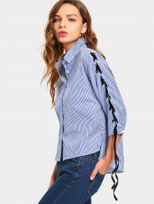 side slit lace up rmel gestreiftes shirt blau blusen xl. Black Bedroom Furniture Sets. Home Design Ideas