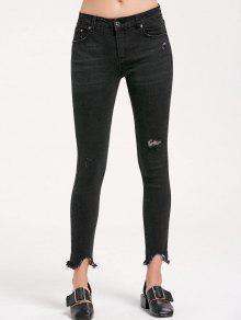 جينز رصاص ضيق ممزق مهتريء - أسود M