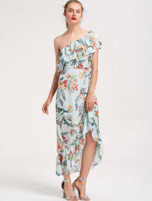 Floral Superposición De Un Hombro Vestido Maxi - Floral M