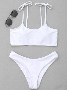 Juego De Bikini Atado Relleno - Blanco M