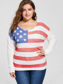 Suéter De La Bandera Americana Del Tamaño Más - Blanco 5xl