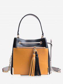 شرابة معدنية الزاوية الرباط حمل حقيبة - أسود