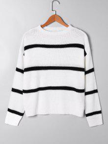 Abierto De Punto De Dos Tonos Suéter - Blanco L