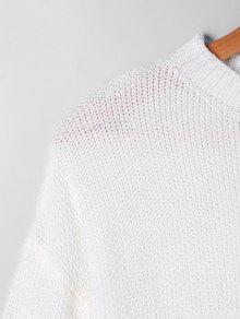 Two Tone Open Knit Sweater WHITE AND YELLOW: Sweaters S | ZAFUL