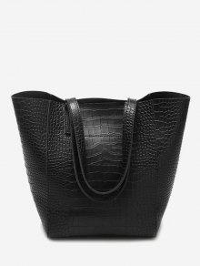 حقيبة كتف من الجلد المصنع المنقوش - أسود