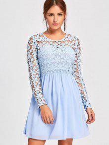 Vestido De Laço Com Manga Comprida - Windsor Azul 2xl