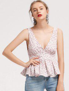 Floral Ruffles Stripes Tank Top - Blanco M