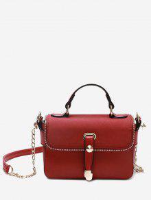 حقيبة يد مزينة بتفاصيل معدنية - أحمر