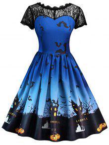 فستان كلاسيكي دانتيل هالوين - الأزرق الملكي L