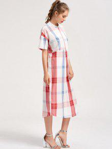 c3f487e3d84 28% OFF  2019 Checked Shift Casual Midi Dress In CHECKED